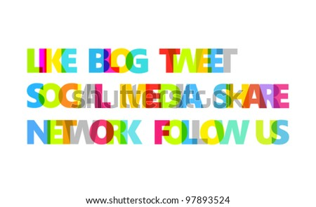 Color words on social media theme. Isolated on white. Vector format.