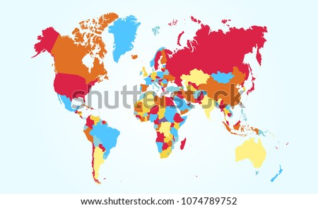 color world map vector #1074789752