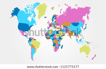 color world map vector #1125775577
