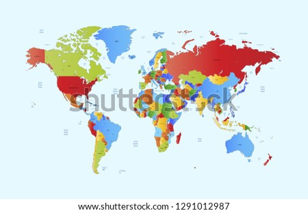 Color world map vector #1291012987