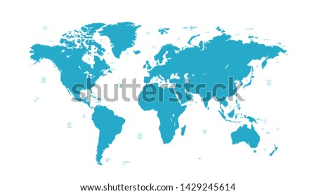 Color world map vector modern