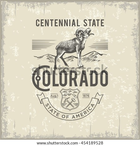 Colorado Centennial State, stylized emblem of the state of America, Ram, vintage