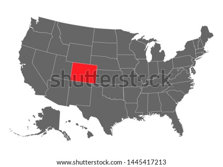 Colorado vector map silhouette. High detailed illustration. United state of America country