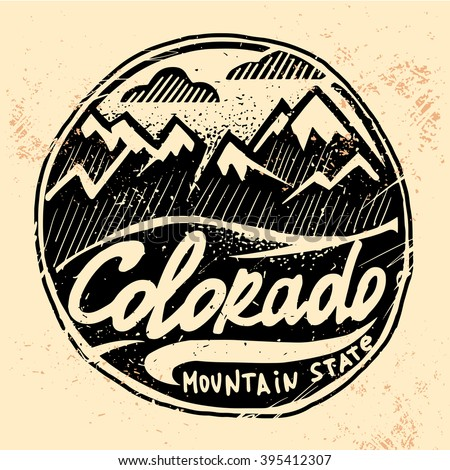 Colorado vintage western print design. Tee print design with old effected.