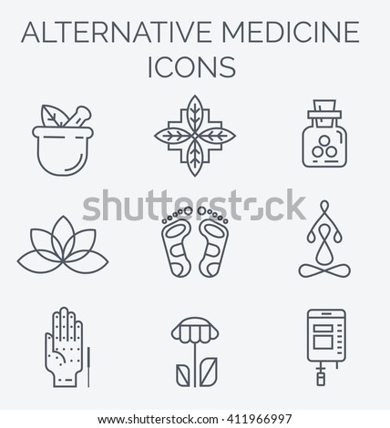Colorblock Alternative Medicine icons. IV Vitamin Therapy, Anti-Aging, Wellness, Ayurveda, Chinese Medicine. Holistic centre.