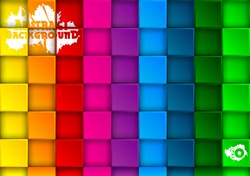 Colored abstract background of squares with shadows