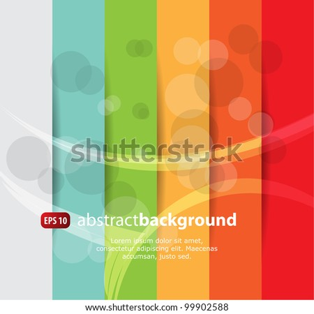 Colored abstract background with wave and bubble effect