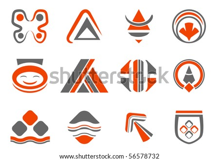 colored abstract design elements - vector set