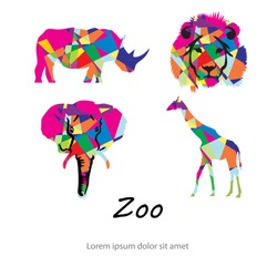 Colored abstract silhouettes of African animals