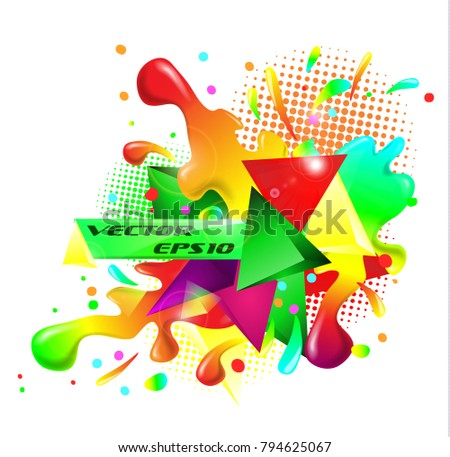 colored abstraction rainbow splatter triangles text vector