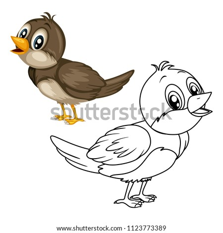 France Colored And Black White Vector Illustration Of A Happy Nightingale Cute Cartoon Bird Isolated Coloring Book