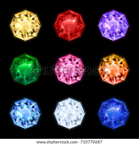 Colored and isolated realistic diamond gemstone icon set in round shapes and different colors vector illustration