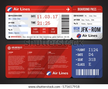 Colored and realistic boarding pass design composition with name of airline time and name on ticket vector illustration