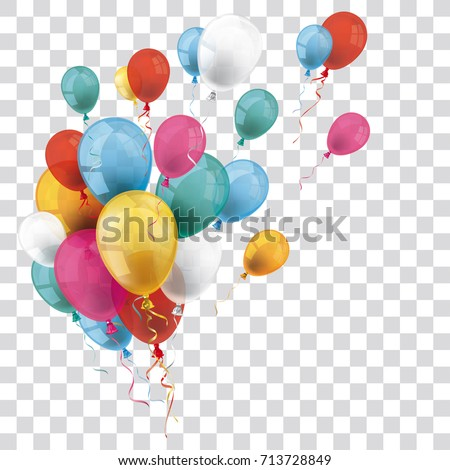 Colored and transparent balloons on the checked background. Eps 10 vector file.