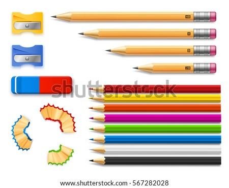 Colored and various length pencils with sharpeners and eraser on white background