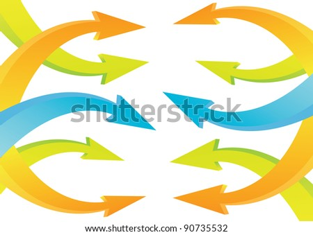 Colored arrows collising with colored arrows vector illustration. - stock vector