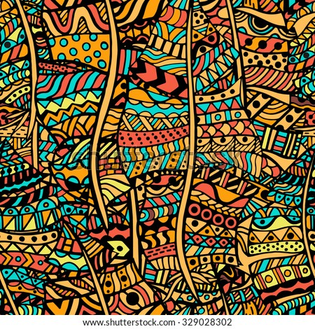 Colored Artistically ethnic pattern. Hand-drawn, ethnic, floral, retro, doodle, vector, zentangle tribal design element. Pattern for coloring book.