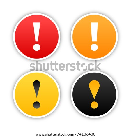 Colored attention stickers with exclamation mark and drop shadow on white. 10 eps