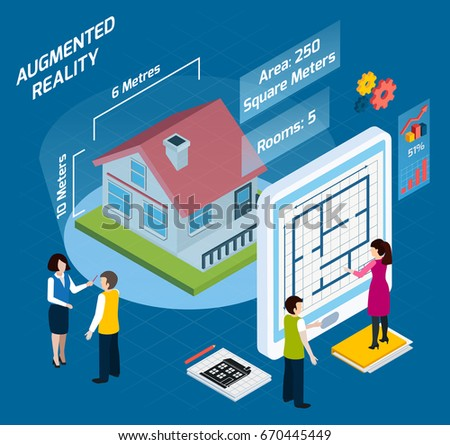 Colored augmented reality isometric composition with area number of rooms and other descriptions vector illustration #670445449