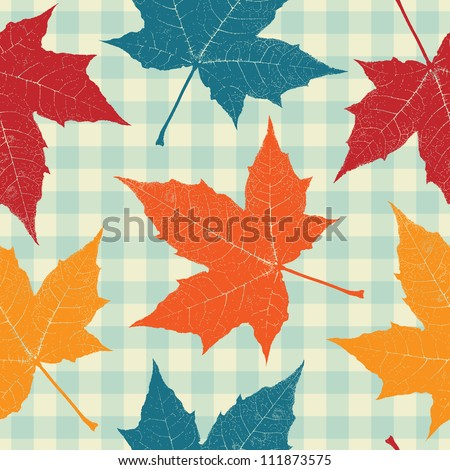 Colored autumn leaves seamless pattern