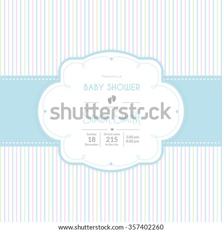 Colored background with text and icons for baby showers