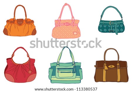 colored bags on a white background