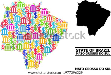 Colored bank and business mosaic and solid map of Mato Grosso do Sul State. Map of Mato Grosso do Sul State vector mosaic for business campaigns and applications. Foto stock ©