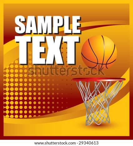 colored basketball hoop advertisement stock vector
