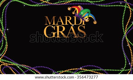 Colored beads frame Mardi Gras wide background EPS 10 vector stock illustration.
