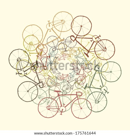 Colored bikes Vector background with bicycles