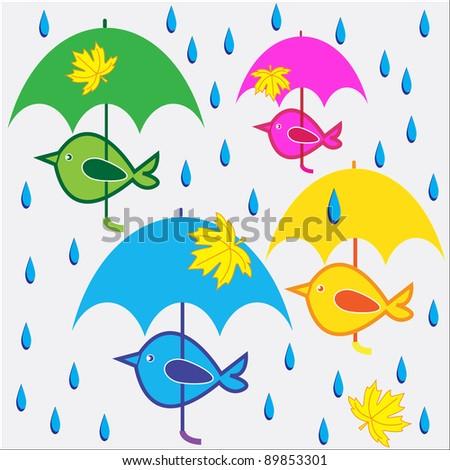 Colored birds under umbrellas. Vector illustration.