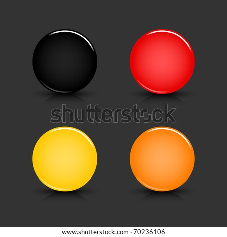 Colored blank round glossy web button with shadow and reflection on gray