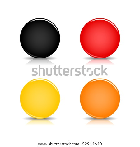 Colored blank round glossy web button with shadow and reflection on white