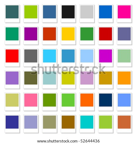 Stock Vector Illustration colored blank web button set polaroid photoshot on white background