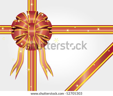 Colored bow with stars on a white background. Vector. Illustration