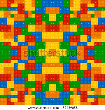 Colored building blocks game texture background vector