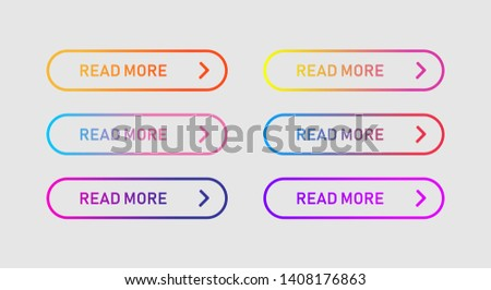 Colored buttons isolated. Read more design element. Buttons for web application and websites. EPS 10 #1408176863