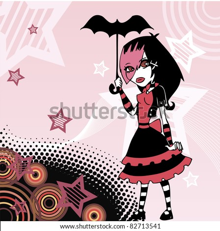 colored cartoon emo goth girl