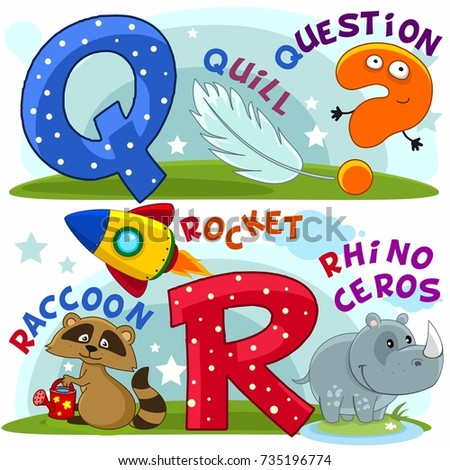 Colored cartoon English alphabet with letters Q and R for children, with pictures to these letters with a pen, question mark, raccoon, rocket, rhinoceros.
