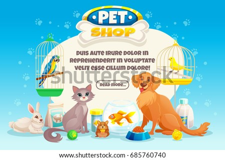 Colored cartoon pet shop composition or banner with descriptions about pets and read more button vector illustration