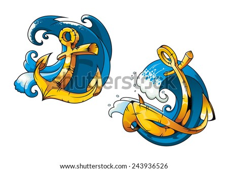 Colored cartoon ship anchors on sea water waves for tattoo, travel or transportation design