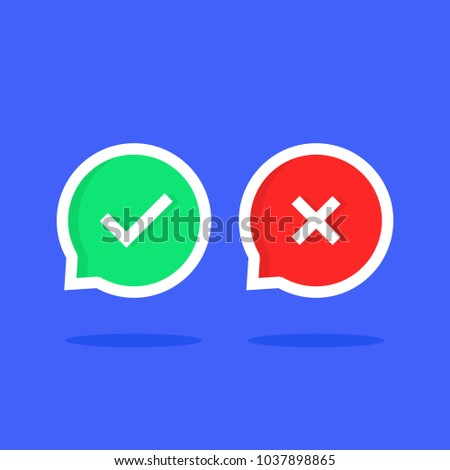 colored check marks bubble like dos or donts. cartoon trendy modern simple done logotype graphic set ui design illustration isolated on blue background. concept of learning review or info mistakes