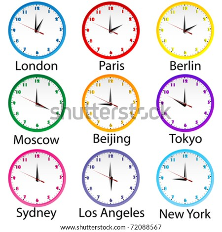 Colored clocks with hours around the world