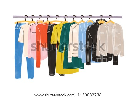Colored clothes or apparel hanging on hangers on garment rack or rail isolated on white background. Clothing organization or storage. Inner space of closet or wardrobe. Hand drawn vector illustration