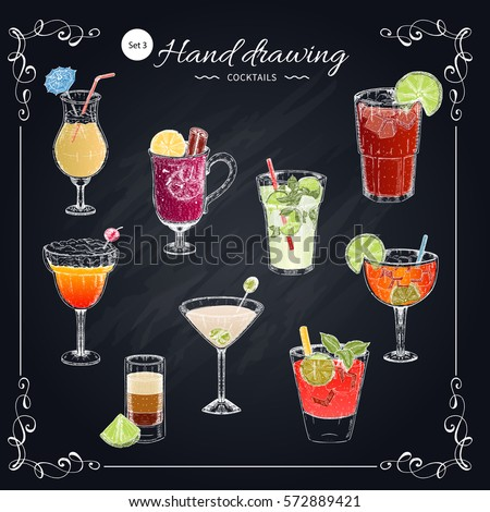colored cocktails hand drawn