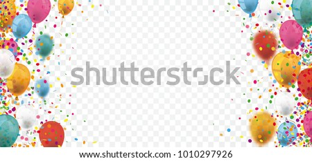 Colored confetti and balloons on the checked background. Eps 10 vector file.