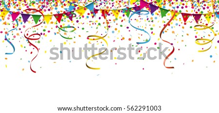 Colored confetti with ribbons and festoons on the white. Eps 10 vector file.