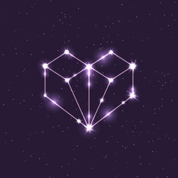 colored constellation illustration in the shape of a heart in space