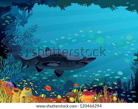 Colored coral reef with shark and silhouette of fish on blue sea background