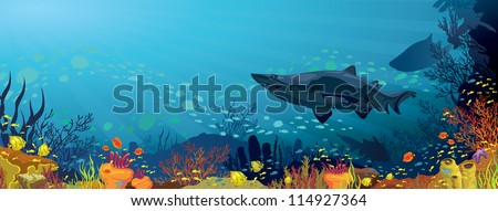 Colored coral reef with sharks and silhouette of fish on blue sea background - stock vector